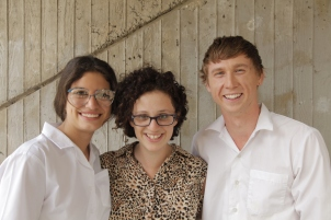 Mia Morrissey, Jessica Bellamy and Ben Adam on the set of BAT EYES for The Voices Project.
